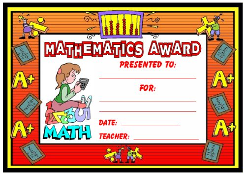 Math Award Certificate