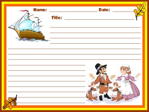 Thanksgiving Mayflower and Pilgrims Creative Writing Printable Worksheets