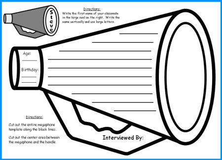 First Day of School Activity and Activities Creative Writing Megaphone Circus Templates