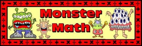 Monster Math Free Bulletin Board Display Banner for Elementary School Teachers