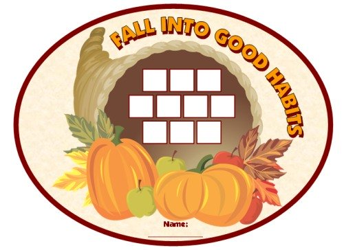 Thanksgiving Sticker Chart Fall Into Good Habits