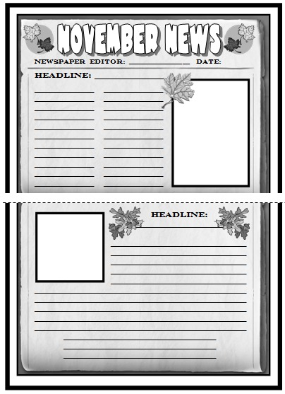November, Fall, and Thanksgiving Newspaper Creative Writing Projects For Elementary School Students
