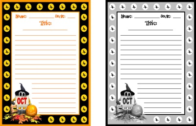 October and Halloween Printable Worksheets For Creative Writing
