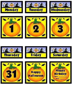 Example of free calendar dates October classroom calendar set