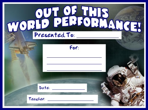 Out Of This World Performance Achievement Award