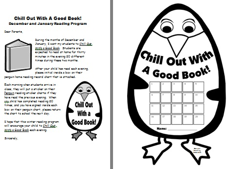 Winter Penguin Reading Record and Parent Letter Worksheet