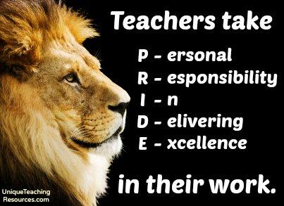 Teachers take P.R.I.D.E. in their work.