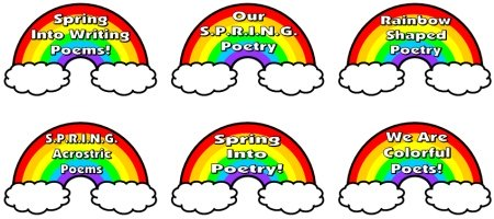 Spring Rainbow Bulletin Board Display for Acrostic Poems