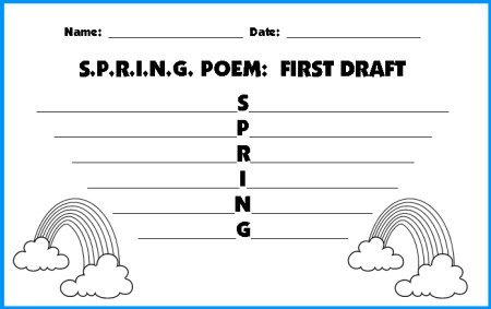 Spring Acrostic Poem First Draft Worksheets