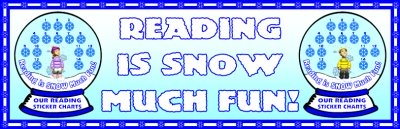 Reading Sticker Charts Winter Snow Globes Bulletin Board Display Banner