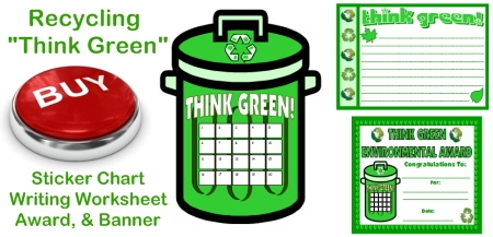 Recycling Sticker Chart, Award Certificate, and Writing Worksheet Set