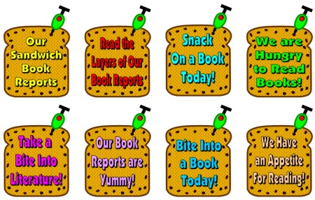 Sandwich Book Report Projects Reading Bulletin Board Display Ideas and Examples
