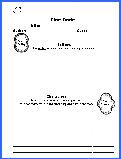 All worksheets character and setting worksheets for Sandwich template for writing