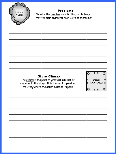 Sandwich Book Report Projects Worksheet:  Problem, Plot, and Story Climax