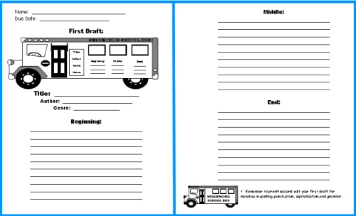 Back to School Bus Book Report Project First Draft Printable Worksheets