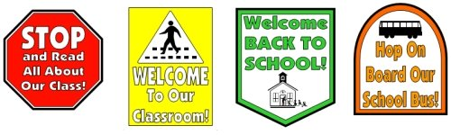 Back To School Bus Road Signs for Bulletin Board Display Ideas
