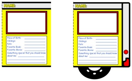 School Bus Templates for Students Creative Writing Back To School Activity