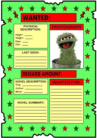 Sesame Street Lesson Plans and Activities Oscar the Grouch Wanted Poster
