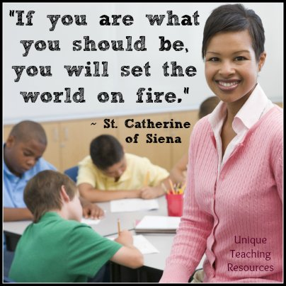 St. Catherine of Siena Inspirational Quote -  Set the world on fire