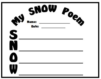 Snow and Winter Acrostic Poems First Draft Printable Worksheet
