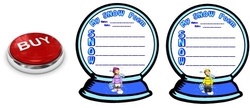 Snow and Winter Acrostic Poem Snow Globe Poetry Templates