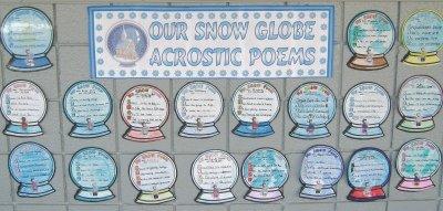 Snow Globe Acrostic Poem Poetry Bulletin Board Display