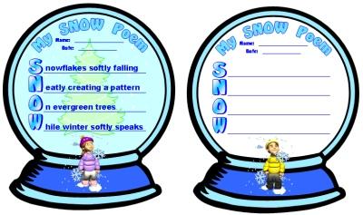 Snow Globe Acrostic Poem Creative Writing Poetry Templates