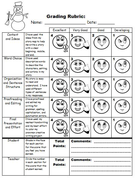 Snowman Creative Writing Project Grading Rubric