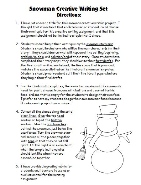 Snowman Project Assembly Directions Worksheets For Elementary Teachers
