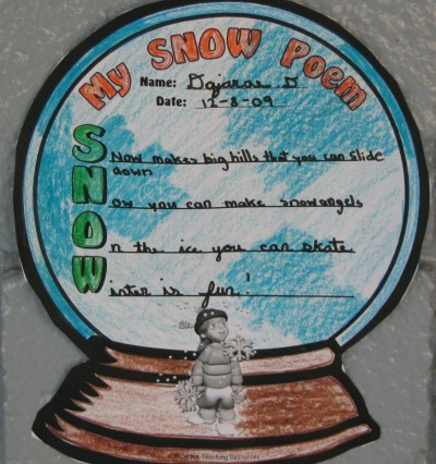 Snow and Winter Poetry Templates and Worksheets for Elementary School Student Poems