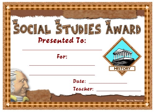 Social Studies Award Certificate For Students