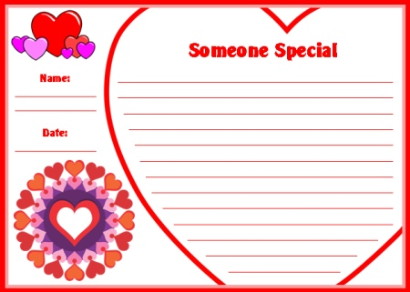 Valentine's Day Someone Special Creative Writing Printable Worksheets