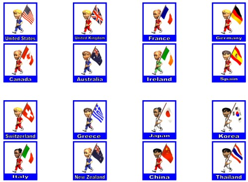 Bulletin Board Accent Pieces of Children With Flags