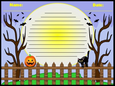 Halloween Stationery and Worksheet for Creative Writing or Poetry