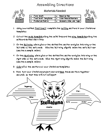 Stellaluna Book Report Project Assembly Directions Worksheet