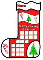 Christmas Stocking Sticker Charts and Templates for Kids