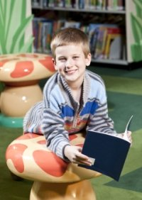 Library Boy Student Reading Picture Book