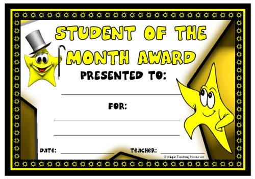 Student of the Month Award Certificate for Students