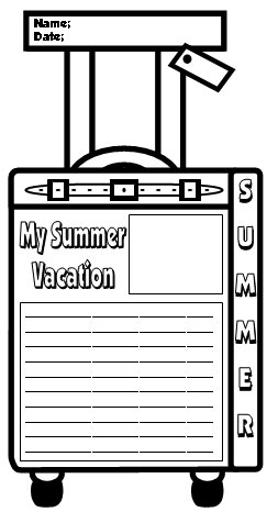 Back To School My Summer Vacation Suitcase Templates for Elementary Students