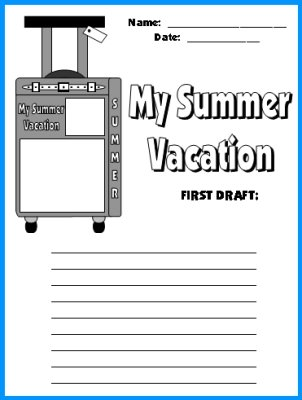 My Summer Vacation Suitcase First Draft Printable Worksheets