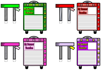 Back to School Lesson Plans My Summer Vacation Suitcase Templates