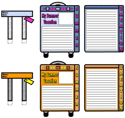 My Summer Vacation Orange Suitcase Writing Templates and Printable Worksheets