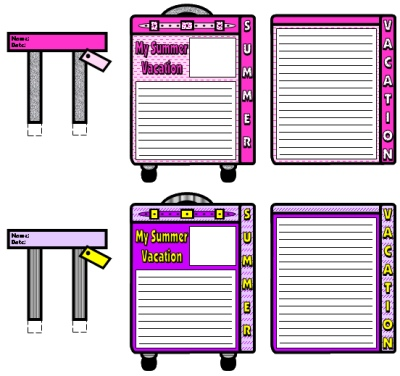Back To School English Teaching Resources Summer Vacation Pink Suitcase