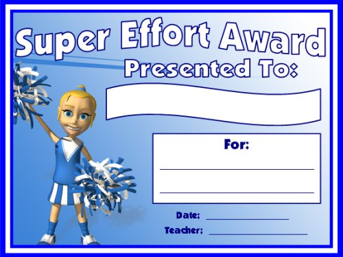 Super Effort Award Certificate For All Subjects