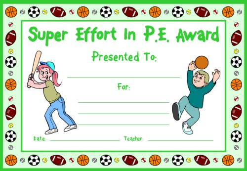 Super Effort In PE Award Certificate For Kids