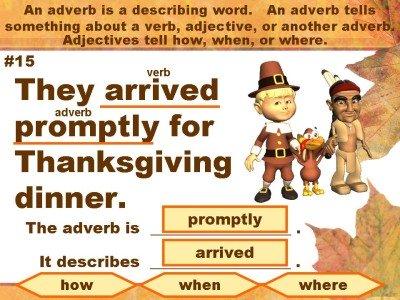 Thanksgiving Adverbs Powerpoint Presentation
