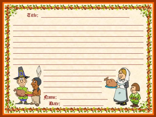 Pilgrims and Thanksgiving Dinner Creative Writing Printable Worksheets