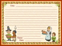 Thanksgiving Dinner and Pilgrims November Writing Prompts Printable Worksheet