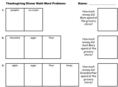 Thanksgiving Dinner Math Word Problems Worksheet