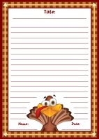 Thanksgiving Turkey November Writing Prompts Printable Worksheet